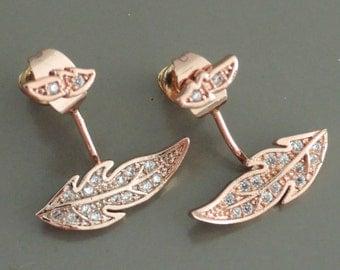 Ear Jackets - Jacket Earrings - Pave Earrings - Rose Gold Earrings - Leaf Earrings - Crystal Ear Jackets - Stud Earrings - Bridal Earrings