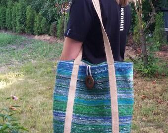 Saori bag - handwoven unique large tote bag - beach bag - Easter day gift - woven fashion - OOAK