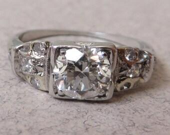 Antique Deco .80 Carat Diamond Platinum Ring
