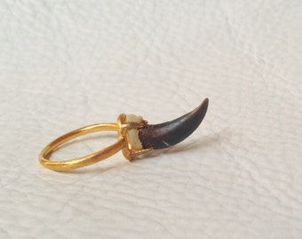 Gold plated Ring setting with Natural Coyote Claw Sterling Silver base Taxidermy Jewelry