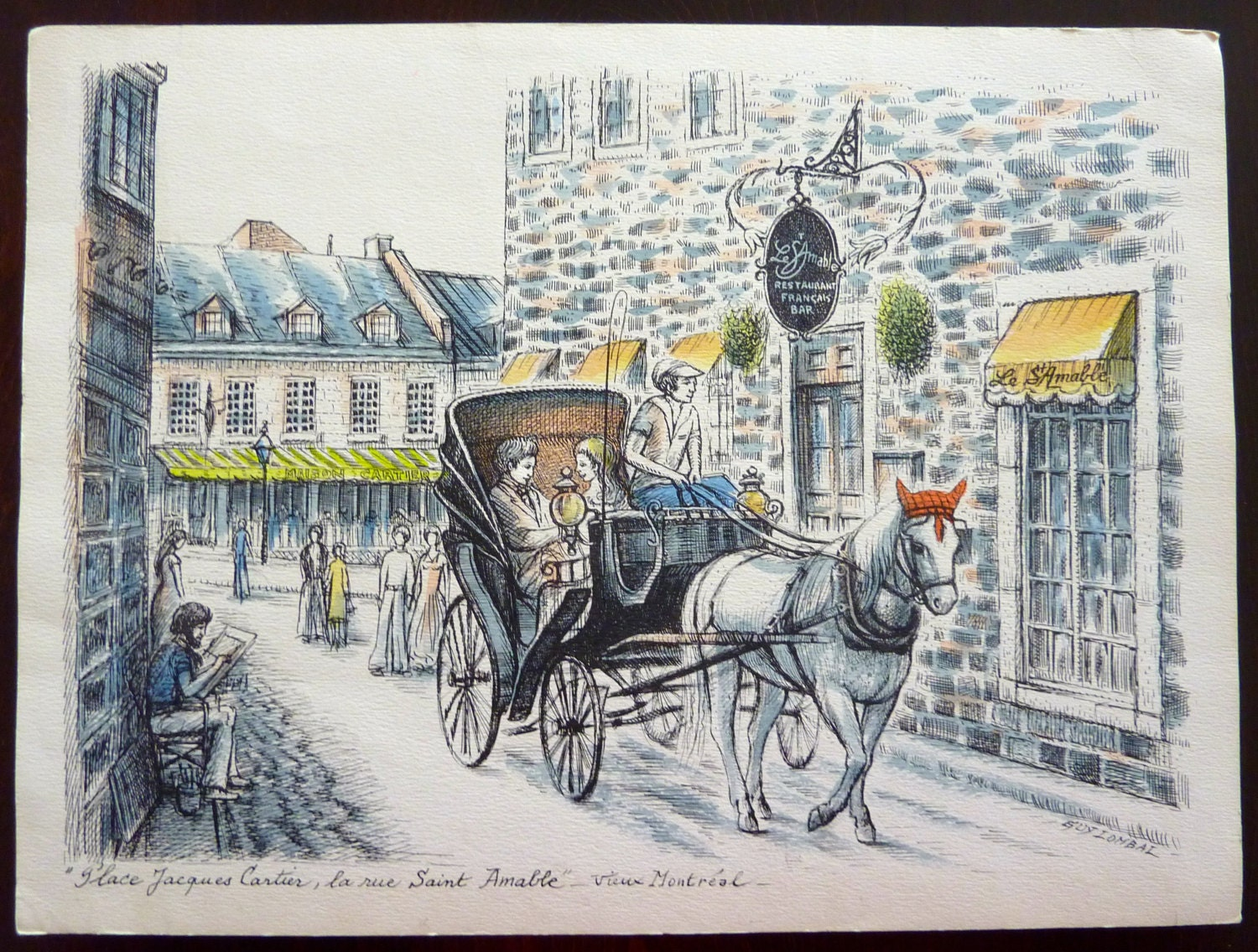 Vintage ink and watercolor print from french artist guy for Places that buy art
