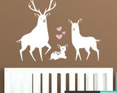 Deer Family Wall Decal - Cute Baby Deer Fawns Nursery Decal Stickers - WAL-2232