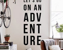 Let's go on an adventure, Large Inspirational Wall Quotes Wall Words Travel Wall Decal WAL-2257