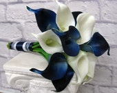 Calla lily Wedding bouquet Navy blue white real touch bridesmaid bouquet
