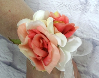Coral rose corsage, Wrist corsage, Wedding corsage, Wedding accessories