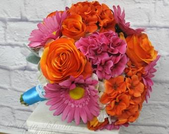 Tropical bouquet, Wedding bouquet, Hot pink and orange silk wedding flowers