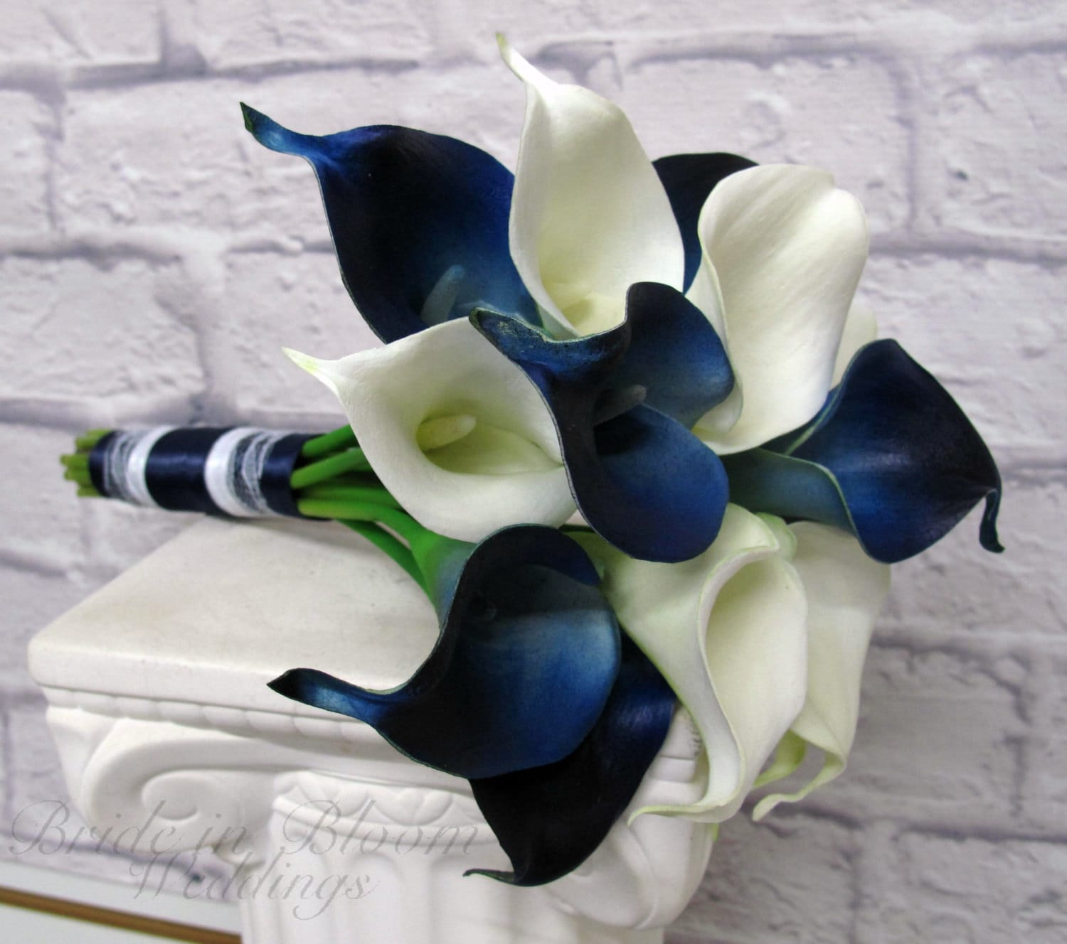 Calla lily wedding bouquet navy blue white real touch zoom junglespirit Images