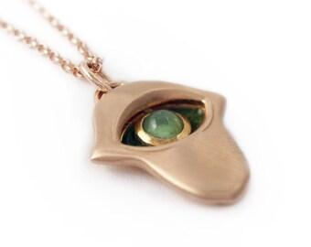 Hamsa necklace, Kabbalah necklace, Green stone hams necklace, Rose gold Hamsa necklace, Charm necklace, Hamsa hand necklace, evil eye