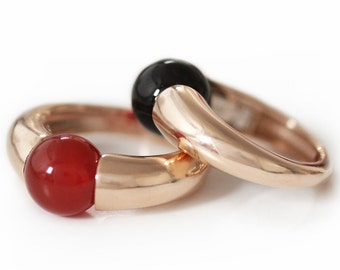 Red stone ring in rose gold plated Silver, simple ring design, Solitaire Silver Gemstone Ring, agate ring, minimalist ring  by Cadi jewelry