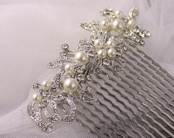 Pearl & Crystal Hair comb, Bridal Hair Comb, Vintage Wedding Floral Hair Comb, Wedding Hair Accessories, GLORY