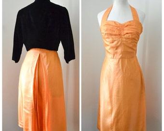 1940s Orange taffeta halterneck evening dress & black velvet jacket / 40s cocktail dress set XS