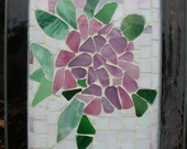 Pink Rhododendron Stained Glass Mosaic Suncatcher