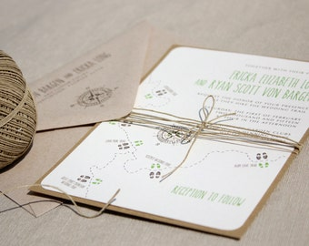 Happy Trails -- Hiking Themed Layered Wedding Invitation, Outdoorsy, Fun and Adventurous