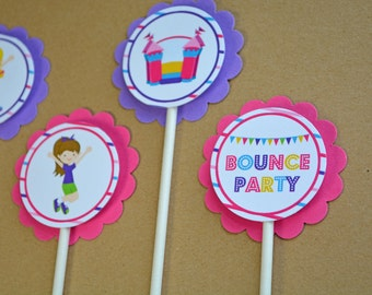 Cupcake Toppers - Girl's Bounce House Birthday Party, Pink and Purple