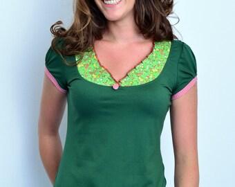 jersey top - green - flowers - button