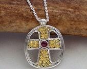 Cross Pendant – Garnet, Alaskan Gold Nuggets & Sterling Silver