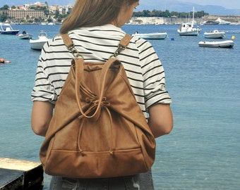 "Leather Backpack,Shoulder bag,Cross body bag, in ""vintage""light brown, named Mara MADE TO ORDER"