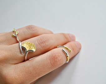 Sterling Silver and Gold Ginkgo Leaf Ring