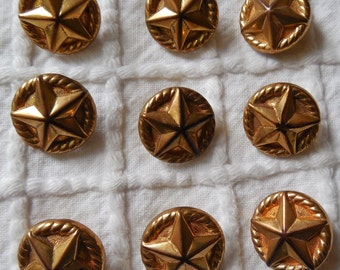 Set of 9 Gold Plastic Star Buttons    MBS6