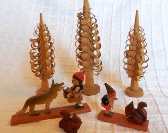 German Erzgebirge Carved Wood Miniature Storybook Figures & Trees: Red RidingHood and Dwarf