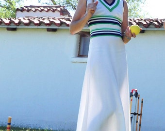 1970s Giamo Knits Summer Dress - Preppy Lawn Party Maxi Dress Ready for Croquet and Badminton