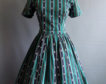 1950s striped cotton sharkskin dress purple green and black full skirt fit flare 50s 50's vintage jacquard swing dress