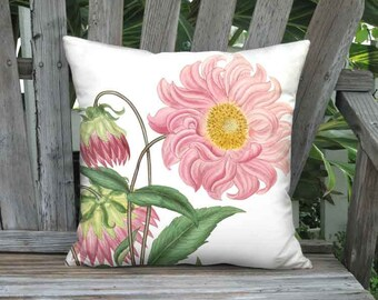 Pink Dahlia Flower Pillow Cover - Cottage Decor Pillow - 16x 18x 20x 22x 24x 26x 28x Inch Linen Cotton Pink Flower Cushion Cover