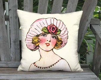 Pillow Cover - Pillow - Pink French Fashion Hat French Flapper - 16x 18x 20x 22x 24x 26x 28x Inch Linen Cotton Cushion Cover