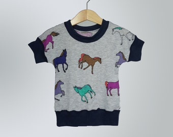 Baby toddler girls clothes, baby toddler summer shirt, 12-18m, horses, soft sensory friendly top for toddler