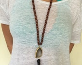 Dark Wood Necklace with Agate Slab and Tassel