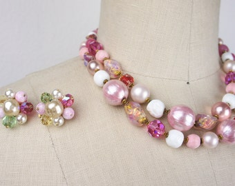Vintage 1960s DeMario Necklace and Earring Set, Pink with Gold Costume Jewelry Set with Double Strand Beaded Necklace and Clip On Earrings