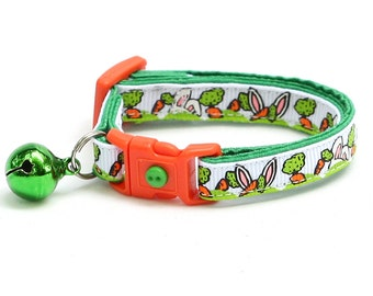 Easter Cat Collar - Easter Bunny Ears and Carrots on White - Kitten or Large Size