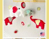 Baby Crib Mobile, Modern Mobile, Nursery Mobile, Elephant Mobile, Red and Gray Elephants with modern circles,Custom Mobile