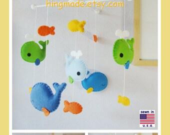 Whale Mobile, Baby Crib Mobile, Nursery Mobile, Whale Mobile, Felt Fish Mobile, Lime Green Blue Orange