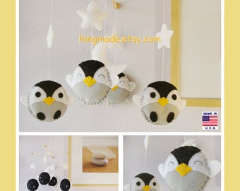 Penguin Mobile, Baby Mobile, Baby Crib Mobile, Antarctic World Nursery,White stars and moon, Penguin Nursery Decor, Custom Mobile