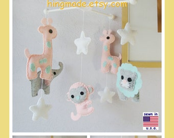 Baby Crib Mobile, Safari Mobile, Baby Girl Mobile, Elephant Giraffe Mobile, Lion Monkey in Pink Gray Turquoise, Custom Mobile