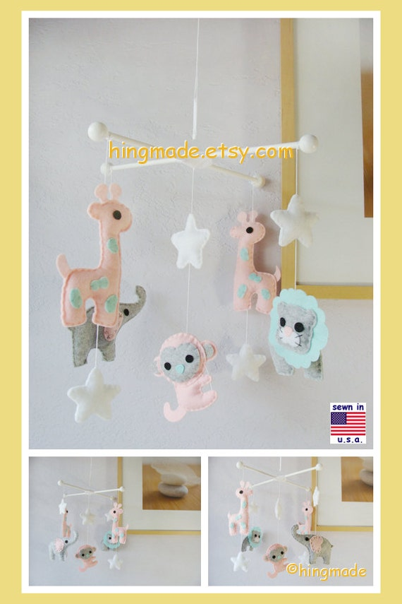 Baby Crib Mobile Safari Mobile Baby Girl Mobile By Hingmade