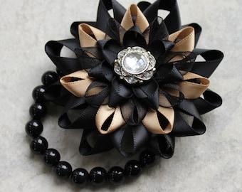 Wrist Corsage, Flower Corsage Bracelet, Black Corsage Flower, Stretch Bracelet, Wrist Flower, Flower Bracelet for Prom, Bridesmaids, Wedding