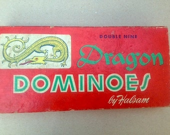 Vintage Dragon Dominoes Set by Halsam - Double Nine