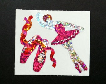 Rare Hambly Stickers: Ballerina - Collection Vintage Glitter Retired Hard to Find Pink Ballet Slippers Toe Shoes Recital Dancer Collector