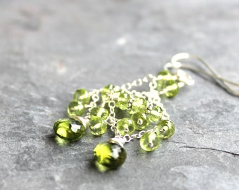Peridot Earrings Chandelier Sterling Silver Chain Apple Green August Birthstone