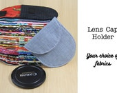 DSLR Camera Lens Cap Pocket - Choose Size and Custom Fabrics - Made to Order