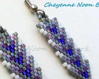 Native American Beaded Earrings - Brick Stitch - Arrows - Rainbow Grey & Purples