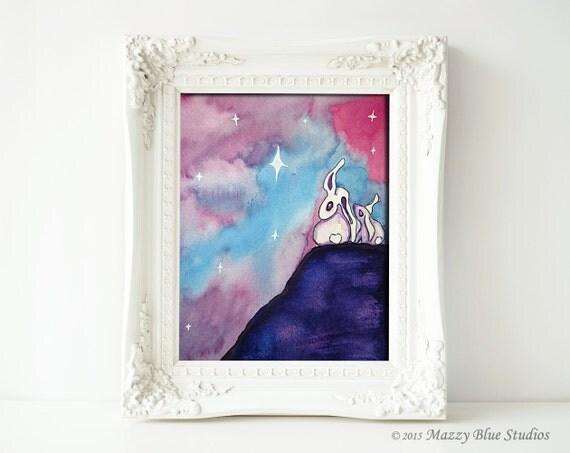 "Bunny Rabbits Stargazing Night Sky Stars Wishing Children's Art -- ""Stargazer Bunnies II"" -- Whimsical Art Print"