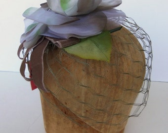 Vintage 50's Hat Fascinator Veil Lavendar Blue Flower Deadstock NOS MINT
