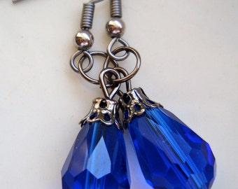 Deep Blue Crystal Earrings, Teardrop Earrings, Gunmetal Earrings, Cobalt Blue Earrings, Dark Blue Earrings