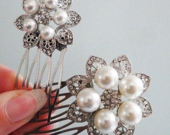 Art Nouveau Hair Duo Vintage Pearl Flower Comb Pair Wedding Hair Accessories Bridal Bridesmaid