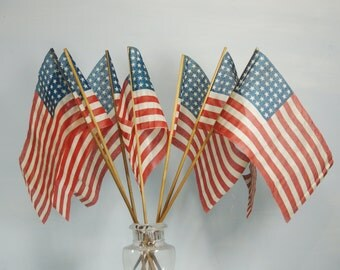 7 original WWII era 48 Star American Parade Flags