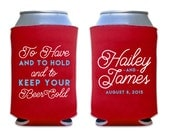 Personalized Beer Can or Bottle Koozies for Wedding Favors and Events