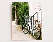 Southern Home Decor - Bicycle Photograph - White Bike Print - Charleston Photo - Green Black - Affordable Wall Art Brick Front Steps